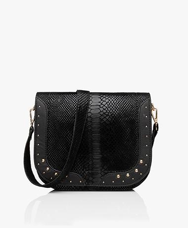 MKT Studio Bendra Leather Snake Print Bag - Black