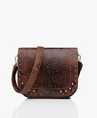 MKT Studio Bendra Leather Snake Print Bag - Tabac