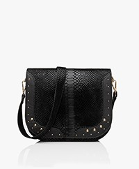 MKT Studio Bendra Leather Snake Print Bag - Black
