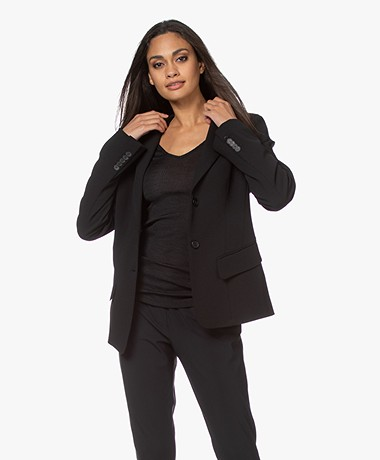 Woman by Earn Ann Blazer met Flared Mouwen - Zwart