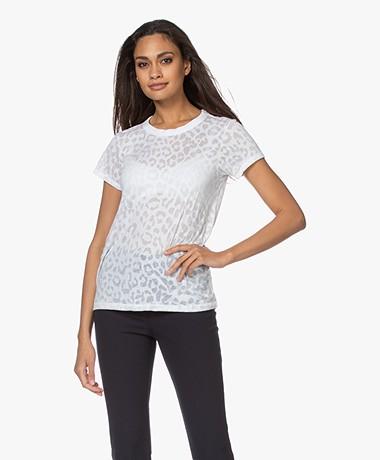 Rag & Bone All Over Cheetah Burn-out T-shirt - White