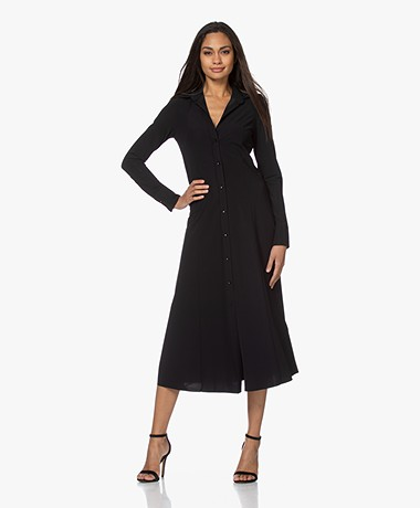 JapanTKY Senya Fit & Flare Travel Jersey Shirt Dress - Black