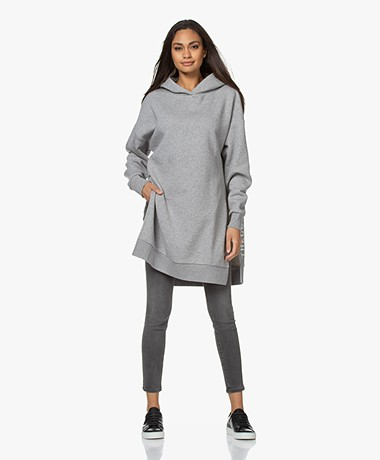 Closed Lange Oversized Sweater met Capuchon - Grijs Mêlee