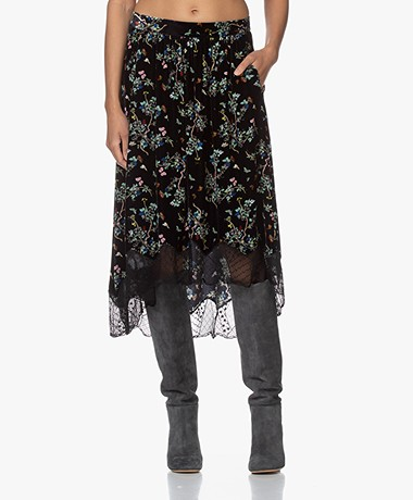 Zadig & Voltaire Joslin Printed Velvet Skirt - Black