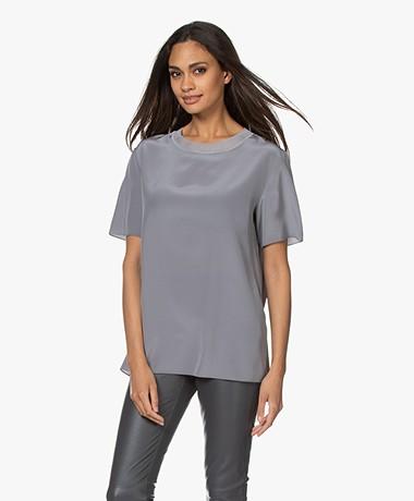 Joseph Rubin Silk Crepe Short Sleeve Blouse - Steel