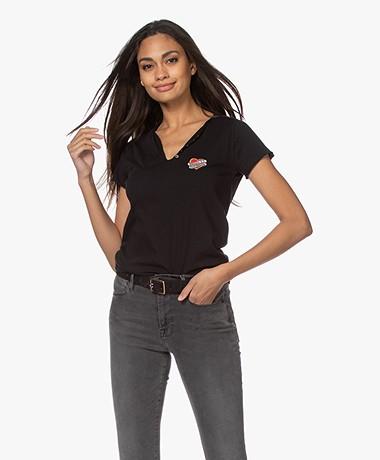 Zadig & Voltaire Tunisien Heart Henley T-shirt - Black