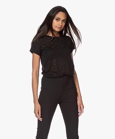 Rag & Bone All Over Cheetah Burn-out T-shirt - Black