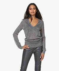 Joseph Viscose Blend V-neck Sweater with Lurex - Anthracite