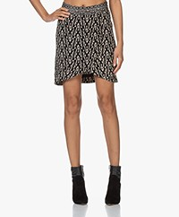 ba&sh Iliade Printed Viscose Skirt - Black/Cream