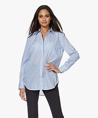 Equipment Kenton Gestreepte Katoenen Blouse - Blauw/Bright White