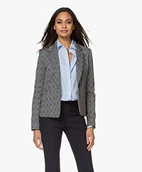 Drykorn Selsey Tailored Check Blazer - Black/Off-white/Blue