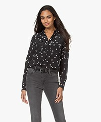 Equipment Slim Signature Printed Washed Silk Shirt - Black/White