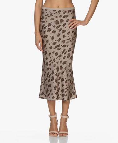 ANINE BING Bar Silk Printed Skirt - Beige Leo