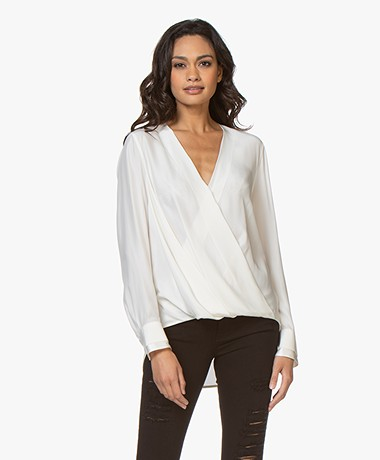 Rag & Bone Victor Zijden Blouse - Off-white
