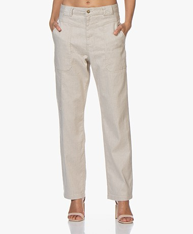 ba&sh Curious Linen Blend Pants - Natural