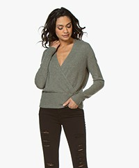 Repeat Cashmere Wrap Front Sweater - Khaki