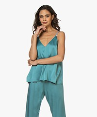 forte_forte Crepe Satin Top with Velvet Shoulder Straps - Topazio
