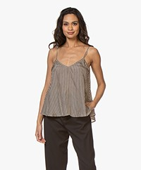 Mes Demoiselles Berry Silk A-line Top - Beige/Black