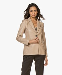Repeat Luxury Leather Blazer - Nougat