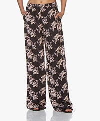 IRO Fierce Floral Printed Viscose Pants - Black