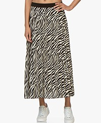 LaSalle Pleated Midi Skirt with Print - Zebra