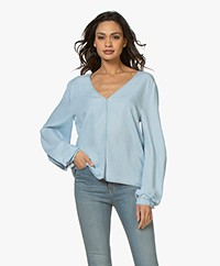 forte_forte Indigo V-neck Chambray Blouse - Bleach