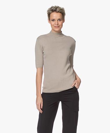 JapanTKY Tora Cotton Short Sleeve Turtleneck Sweater - Warm Sand