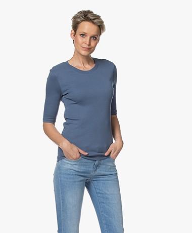 Closed Modalmix Rib T-shirt - Commodore Blue