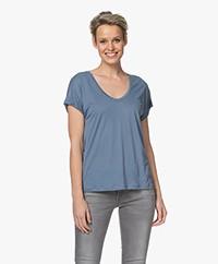 Closed Lyocell Blend U-neck T-shirt - Commodore Blue