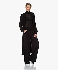LaSalle Lang Open Oversized Vest in Wolmix - Zwart