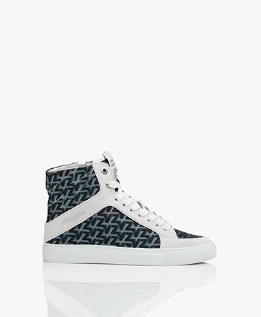 Zadig & Voltaire High Flash Print Sneakers - Acier