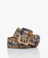 Vanessa Bruno Raffia Belt - Blue Multi-color