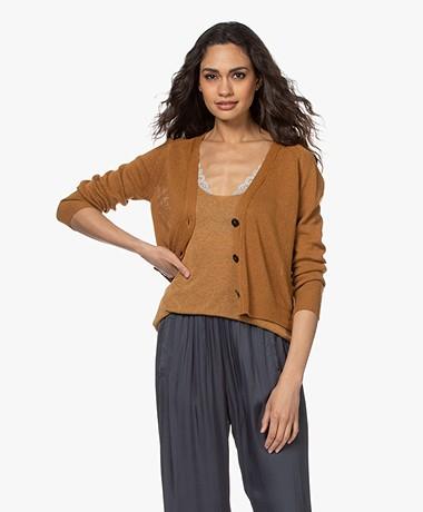 Pomandère Short Linen Blend Button-through Cardigan - Camel