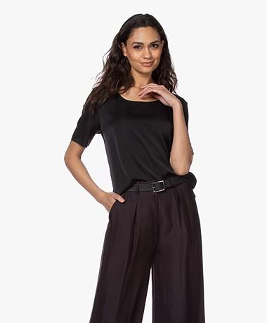 Repeat Silk Short Sleeve Blouse - Black