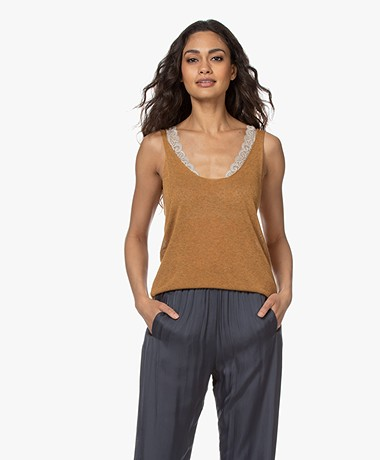indi & cold Fine Knitted Tank Top - Canela