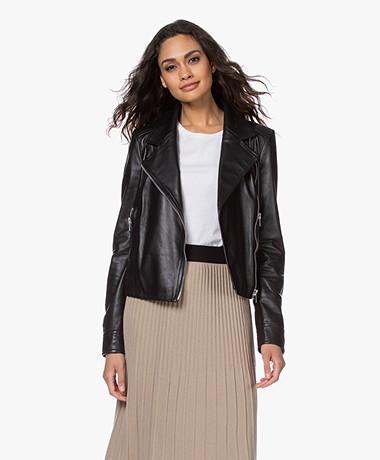Drykorn Paisly Leather Biker Jacket - Black