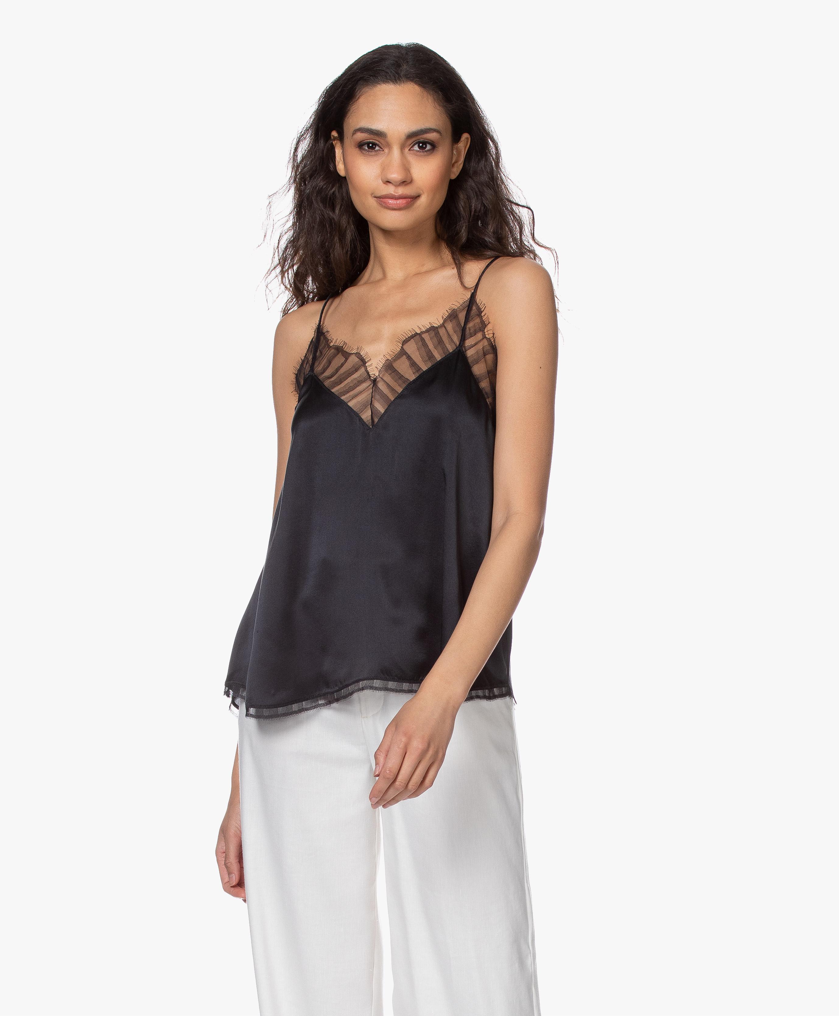 100/% Silk Delicate Feminine Cami Pale Pink Sequin Lace Tank Top