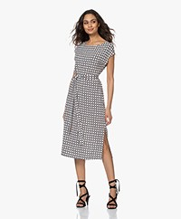 no man's land Viscose Jersey Midi Print Dress - Black