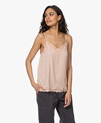 Repeat Silk Blend Top with Lace - Peach