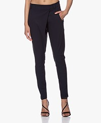 Woman By Earn Earn Tapered Tech Jersey Pants - Navy