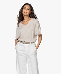 studio .ruig Tem Viscose Oversized Short Sleeve Blouse - Sand