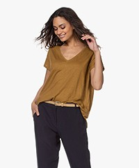 Majestic Filatures Linen V-neck T-shirt - Amber
