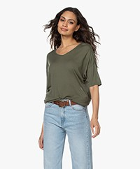 Sibin/Linnebjerg Cora Knitted Viscose T-shirt - Army Green