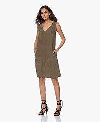 Drykorn Lania Sleeveless Cupro Dress - Army