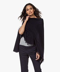 Repeat Fine Knit Cotton Blend Poncho - Navy