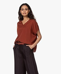 studio .ruig Tem Viscose Oversized Short Sleeve Blouse - Ginger
