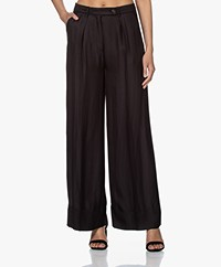 By Malene Birger Enil Viscose Herringbone Pants - Black
