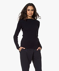 Woman By Earn Rory Cotton Boatneck Sweater - Navy