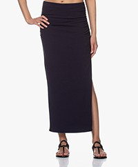 James Perse Brushed Jersey Long Split Skirt - French Navy