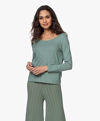 Pomandère Cotton-Linen Boat Neck Long Sleeve - Green
